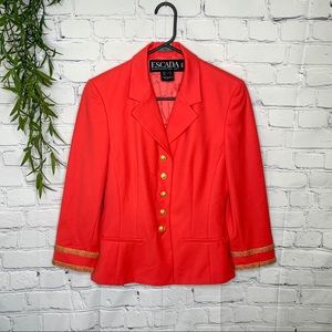 Escada beaded jacket coral pink & gold size 38